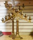 LARGE HEAVY Pair of Antique Brass ALTER CANDELABRAS
