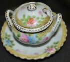 Vintage Nippon Hand Painted Jam Jelly Mustard Jar on plate