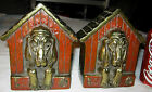 ANTIQUE M.B. MARION BRONZE CLAD HOUND DOG HOUSE ART STATUE SCULPTURE BOOKENDS