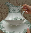 ANTIQUE ENGLISH GREEN TRANSFER WARE WEDGWOOD VIOLET PITCHER SEMI ROYAL PORCELAIN