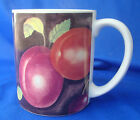 coffee mug cup Sakura Sue Zipkin delicious pear plum apple grape fruit stoneware