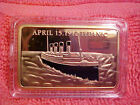 Stunning Collectable Titanic 1 Troy oz.999 Gold Layered Bullion Bar With Case