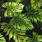 Hawaiian Print Cotton Fabric Per Yard, Large, Green Tropical Leaves by Trendtex