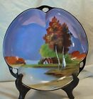 Vintage 1930's Lusterware Noritake 3 lobed Hand Painted Scenic Porcelain Bowl