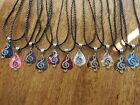 Handcrafted Silver Music Note Charm Guitar Pick Necklace Your Choice Color 18