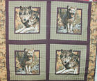 1 yd Wild Life Wolf Pillow Panel Wild Dog Lobo Brown Plaid Fall Autumn Leaves