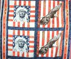 1 Yd Quilt Fabric Pillow Panel Southwestern Country Eagles orange Blue