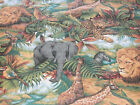 1 yd Wild Life Quilt Fabric Jungle Animals Elephant Lion Zebra Giraffe Leopard