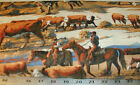 1 Yd Western Cowboy Quilting Fabric Large Steer Scenic Print Cattle Country