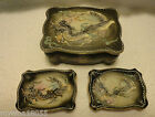 Vintage Dragon Moriage Hand Painted Trinket Box and 2 Tray Set made in Japan  *