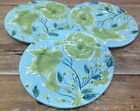 Vintage Florals Ambiance Green Leaves Texture Turquoise Blue 3 Salad Plates Chic