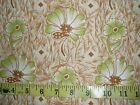 Vintage Fabric cream Brown Green Material 2 Yd Free ship