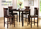 5 Pcs Espresso Dining Set Counter Height Table Chairs Luxury Contemporary