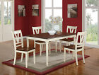 5 Pcs White with Brown Dining Set Table Chairs Luxury Classic Contemporary