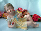 Antique Vintage German Bisque Piano Baby Doll Girl With Red Ball Large 8.5