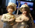 PAIR BISQUE PORCELAIN FIGURINES BOY GIRL FIGURES FRENCH ? NUMBERED SET NICE