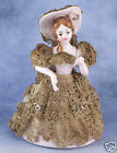 Vintage Pink Ceramic Southern Belle Woman Lady With Real Lace Dress and Hat