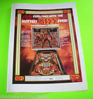 KISS By BALLY 1979 PINBALL MACHINE ORIG. FRAMEABLE AD LARGER THAN SALES FLYER