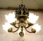 Antique Style Gargoyle Chandelier Ceiling Light Fixture Lamp with Glass Shades