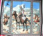 1 Yd Quilt Fabric Wall Hanging Panel Southwestern Country Horse Wolf Wigwam