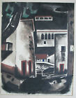 KIMO MARTIN VINTAGE 1940'S AMERICAN MODERNISM STREET SCENE CITYSCAPE PAINTING