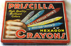 Priscilla Hexagon Crayons Tin 1937 Retro Toykraft USA