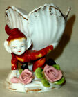 Occupied Japan Elf Pixie Porcelain Figurine Vase Pen Holder Flowers