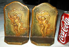ANTIQUE C. 1928 CONNECTICUT FOUNDRY THE STORM CAST IRON NUDE ART STATUE BOOKENDS