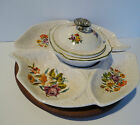 Vintage California Original Lazy Susan Speckle Glass & Wood 5Pc Serving Dish Set