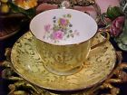 Vintage Derby Yellow & Gold Bone China Tea Cup & Saucer Made in England
