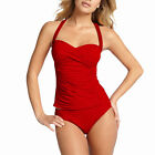 2 Pieces Tied-up Halter Tankini Top with Bikini Bottom Swimwear Swmsuit Red