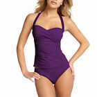 2 Pieces Tied-up Halter Tankini Top with Bikini Bottom Swimwear Swmsuit Purple