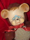 VINTAGE BROWNSTRIPE RUBBER FACE TEDDY BEAR POUTING TAG KNICKERBOCKER RUSHTON LOT
