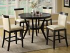 5 Pc Espresso Counter Height Dining Set Table Chairs Classic Luxury Contemporary