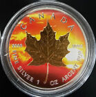 2014 1 oz Ounce Canadian Maple Colorized Sun And Gold Gilded Coin.9999 RARE!!