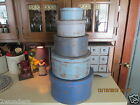 COUNTRY PRIMITIVE SET OF SHAKER STYLE PANTRY BOXES- PRIM BLUES