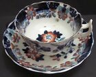 antique 1883 Flow Blue IMARI  Cup & Saucer Maker Crown H. B. RN 135869