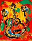 CUBAN GUITAR   ORIGINAL OIL Painting  Stretched RUSSIAN IMPRESSIONIST ESDFERTH