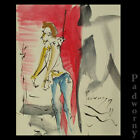 MAN ORIGINAL INK PAINTING OUTSIDER HANGING UNIQUE URBAN CITY FOLK LOCAL ODD A