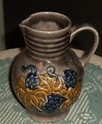 VTG W. GERMANY HANDPAINTED POTTERY GRAY PITCHER /VASE W/ GRAPES LEAVES  290-0.5