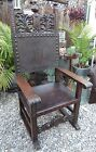Vtg Antique Gothic Medieval Knights Carved Wood & Tooled Leather Throne Chair