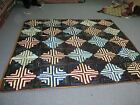 Antique American Handmade Log Cabin Quilt Coverlet 80 x 100