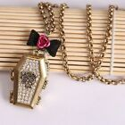 FREE SHIPPING! Betsey Johnson bow can be open coffin pendant necklace # B093