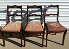 3 Vintage Duncan Phyfe Chairs Style Rose Carved Back Dining Room, Needlepoint