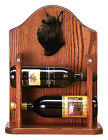 Schnauzer Dog Wood Wine Rack Bottle Holder Figure Blk 2 Bottles Dark