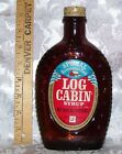 VINTAGE 1976 BICENTENNIAL LOG CABIN SYRUP GLASS BOTTLE LIBERTY BELL W LABEL!