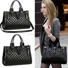 Fashion Women's PU Leather Plaid Check Tote Hobo Handbag Messenger Shoulder Bag