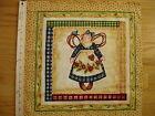 Homespun Angel Blue Dress Sunflower Cotton Quilt Fabric Block 14 3 4 x 14 3 4