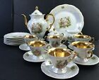 Warvel Teapot Creamer Sugar Bowl POLAND 6 Cups Saucers Plates Plate GOLD Luster