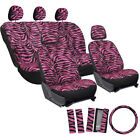Car Seat Covers Hot Pink 17pc for Auto Zebra Tiger Animal Print Steering Wheel